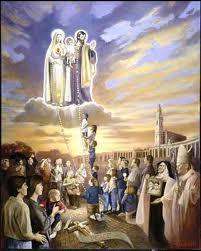 Apparition de Fatima, Marie, Joseph et l'Enfant Jésus.