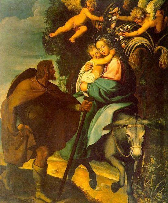 La Fuite en Egypte, tableau de Bartholomeo Carducci, vers 1560.