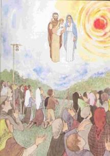 """apparition de Joseph à Fatima, annoncé par Marie : """" Saint Joseph va venir""""."""