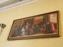 Le curé d'Ars confessant à la Sacristie, tableau chapelle de la Providence
