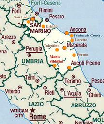 Carte de la terre des Marches ( italie)