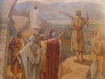 St Jean Baptiste montre l'Agneau de Dieu et s'efface devant le Christ.