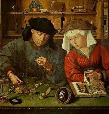 Quentin Metsys, le banquier et sa femme. Dans le reflet du miroir posé entre eux, un voleur qui les guette...