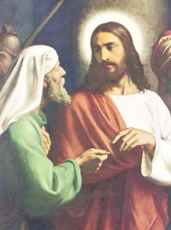 """""""Maître, nous savons que tu parles et enseignes de façon correcte, que tu es impartial et que tu enseignes les chemins de Dieu selon la vérité. Nous est-il permis oui ou non de payer l'impôt à César ?"""" Pénétrant leur fourberie, Jésus leur dit : """"Faites-moi voir une pièce d'argent. De qui porte-t-elle l'effigie et l'inscription ? """" Ils répondirent :    """"De César"""". Il leur dit : """"Eh bien, rendez à César    ce qui est à César, et à Dieu ce qui est à Dieu"""" » (Lc 20, 20-26 ; voir également Mc 12, 13-17 et Mt 22, 15-22)"""