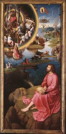 Memling. Vision de l'Apocalypse ( dévoilement, révélation), saint Jean, la Femme et le Dragon.