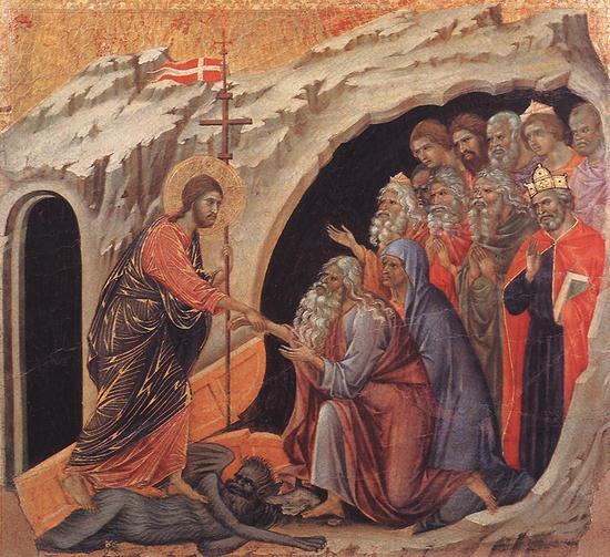 Le Christ aux Enfers vient sauver tous ceux qui l'ont attendu. On peut penser que Saint Joseph, dernier des Patriarches et descendant de David, le seul à avoir vu l'accomplissement de la Promesse, était l'Avent des Patriarches...