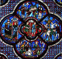 Chartres : vitrail de la Parabole du Bon Samaritain.