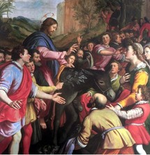 Entrée du Christ à Jérusalem : Il se laisse approcher de tous, sachant bien aussi qu'à la Croix, ces mêmes foules seront partagées.