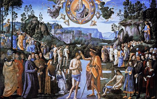 """Le baptême du Christ au centre. A gauche, prédication de Jean-Baptiste, à droite, prédication du Christ, le Jourdain partage la scène en deux et évoque la Paque, ainsi que le passage de l'Ancien au Nouveau Testament. 3 celui-ci est mon Fils Bien-Aimé, écoutez-le"""". Théophanie trinitaire, au centre du tableau le Père, l'Esprit, le Fils."""