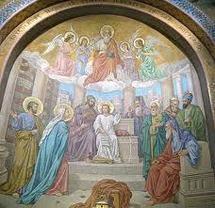 Mosaïques de Lourdes, le recouvrement de Jésus au Temple. Joseph est représenté à droite avec Marie.