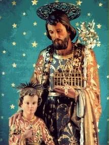 Saint Joseph tient la basilique st Pierre de Rome dans sa main, symbole de sa protection sur l'Eglise.