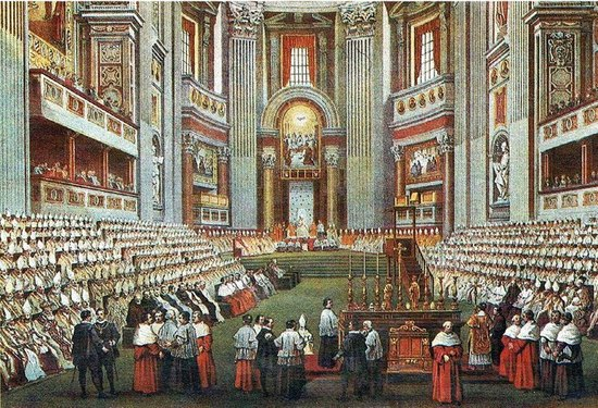 Tableau du Concile Vatican I, dont le travail sera complété par Vatican II