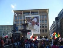 JMJ de Cologne, Benoît XVI sur écran géant.