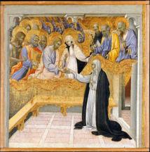 Le mariage mystique de sainte Catherine de Sienne avec le Christ. ( Metropolitan Museum of Art, Giovanni di Paolo)