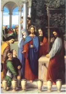 Les noces de Cana, les époux, images des rachetés par le don du Christ.