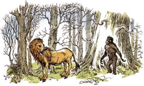 """Illustration de """"La Dernière bataille"""" : l'âne accepte de singer Aslan, convaincu par les propos mensongers du singe"""