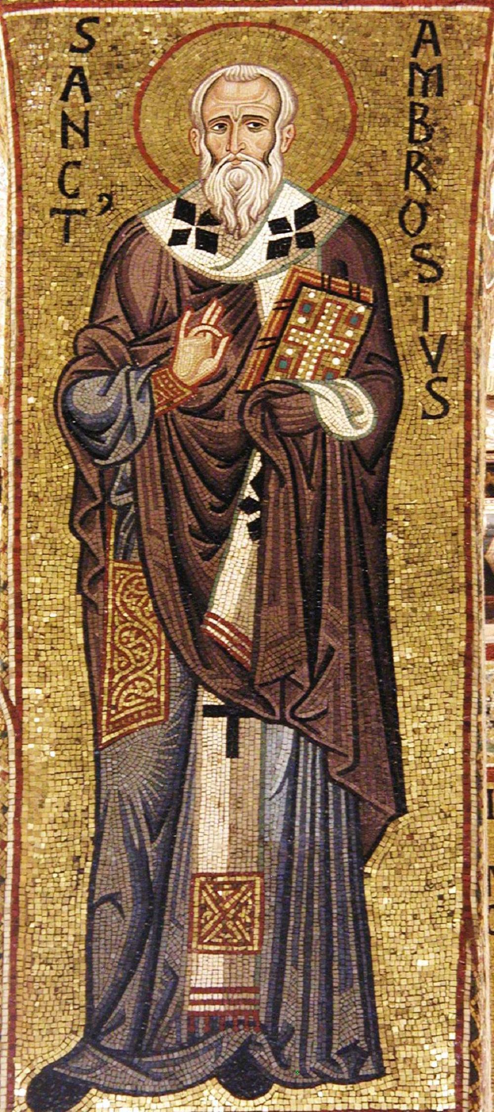 Ambroise écrivit toute une série d'ouvrages sur la virginité : De virginibus, De virginitate, De institutione virginis, Exhortatio virginitatis. Il y ajouta un écrit pour les veuves, le De viduis. C'est dès le début de son épiscopat qu'Ambroise manifesta sa sollicitude toute particulière pour les « épouses du Christ » : le De virginibus date de janvier 376, le De virginitate de juin 377. Ces écrits révèlent la grande délicatesse d'âme et la sensibilité d'Ambroise. Voici le commentaire de l'apparition du Ressuscité à Marie de Magdala (Jean 20, 1-18) que saint Bernard amplifiera [7] :  • Femme, pourquoi pleures-tu ? Qui cherches-tu ? Oui, il y a lieu de pleurer pour toi, incrédule encore envers le Christ. Tu pleures ? Tu ne vois donc pas le Christ ? Crois et tu le verras. Le Christ est tout proche. Il est là près de toi. Jamais à ceux qui le cherchent il ne fait défaut.  Pourquoi pleures-tu ? Il n'est nulle raison de pleurer, si seulement ardente dans la foi, tu es faite digne de Dieu ! Ne pense plus aux choses mortelles et tu ne pleureras plus. Ne pense plus aux choses passées et nulle cause de larmes ne demeurera !  Pourquoi pleures-tu ? Vois, tu pleures, et c'est maintenant l'heure de la grande allégresse dont tant d'autres se réjouissent.  Qui cherches-tu ? Ne le vois-tu pas : le Christ est là ! Ne vois-tu pas le Christ, il est la force de Dieu, il est la sagesse de Dieu, le Christ est la sainteté, le Christ est la chasteté, le Christ est l'intégrité, il est né de la Vierge, le Christ provient du Père, il est auprès du Père et toujours dans le Père, né non créé, il n'est pas séparé du Père, mais toujours aimé, vrai Dieu de vrai Dieu.  « Ils ont enlevé mon Seigneur du sépulcre et je ne sais où ils l'ont mis. »  Ô femme, tu te trompes ! Tu penses que d'autres ont enlevé le Christ. Ne sais-tu pas qu'il est ressuscité de par sa propre puissance ? Personne ne peut enlever la force de Dieu, personne ne s'empare de la sagesse de Dieu et personne ne peut ravir la chasteté