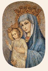 """Le 8 décembre 1981, le pape Jean Paul II bénit une reproduction de """"Mater Ecclesiae"""" (Marie mère de l'Eglise), placée au-dessus de la place saint Pierre de Rome."""