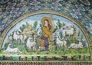 Mosaïque de ravenne, le Bon Pasteur. ( en référence à Pastor Bonus qui institua la Congrégation pour la Vie consacrée)