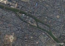 L'île de la Cité, vue Google Earth.