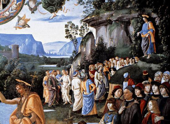 Le Christ enseignant les foules, sermon sur la montagne. ( Quattro cento, chapelle Sixtine) Voir ci-dessous le tableau en entier, cette partie du tableau évoquant l'Eglise, rassemblement de ceux qui écoutent la Parole du Christ, les fidèles baptisés.