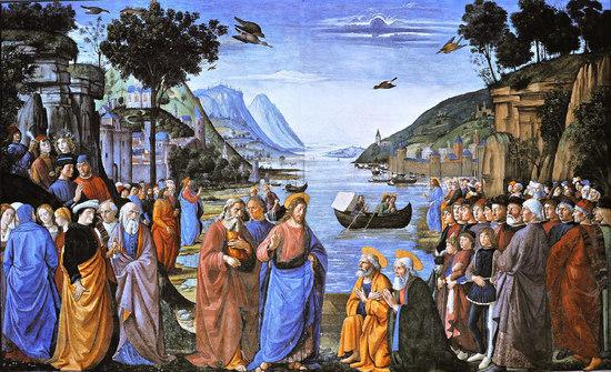 """Appel des disciples. Une vocation au service de l'ensemble des fidèles. Remarquez le père de Jacques et Jean dans sa barque, puis la suite du Christ ( juste derrière le Christ, les deux apôtres laissent leurs filets : """" Je ferai de vous des pêcheurs d'hommes"""", et ultime détail sans signification mais plein de vie, à droite du tableau, le témoin qui se fait voler la plume de son chapeau...allusion au jeune homme riche?"""