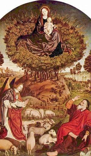Le Buisson Ardent, considéré par les pères de l'Eglise comme la prophétie du Salut par le Christ Incarné en Marie.