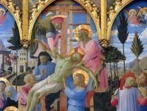 """Une tout autre vision du salut. La croix glorieuse n'est pas """" lumineuse"""" ou """" positivée"""" au sens humain du terme. Elle est glorieuse par l'Amour et le sacrifice du Rédempteur; l'échelle de la descente de Croix ( ici, une oeuvre de Fra Angelico) est le chemin inverse de l'échelle du succès version développement personnel."""