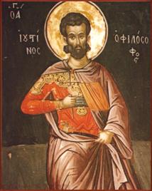 Saint Justin Martyr. On trouvera sur les liens de l'article un lien vers le texte de Benoît XVI dans sa catéchèse sur ce saint et le texte des actes de son martyr.