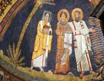 Basilique Sainte Praxède à Rome. Praxède et Prudentienne sont considérées par la Tradition comme les deux premières Vierges Consacrées de l'histoire de l'Eglise et ont chacune leur basilique de chaque côté de sainte Marie-Majeure. Les deux soeurs sont des patriciennes de la famille de Prudentianus, nommé dans ses épîtres par Saint Paul, ici représenté en train de présenter Praxède au Christ. L'une des deux soeurs meurt martyr, l'autre reçoit la première dans l'histoire le voile d'Epouse du Christ. Toutes deux ont consacré leur vie au Christ dans le Célibat pour le Royaume sans quitter leur milieu et leur famille.