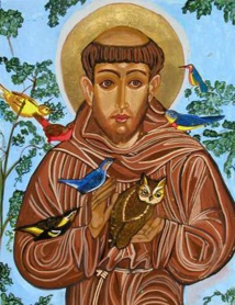 Saint François d'Assise, Hildegarde de Bingen et le pape François, hérauts et protecteurs de la création et de la conversion.