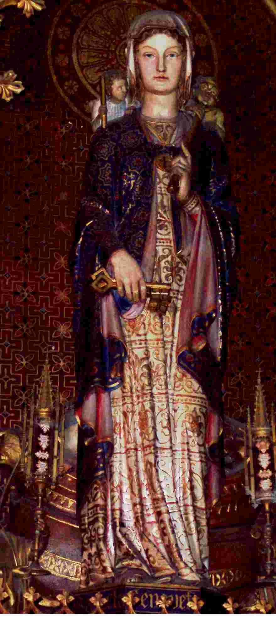 Sainte Geneviève, Vierge consacrée vivant en plein monde, représentée ici avec les clés de Paris, pour son rôle de femme politique ( elle siégeait au conseil de la ville) Geneviève reçut la consécration selon un rite extrêmement proche de celui rénové en 1970