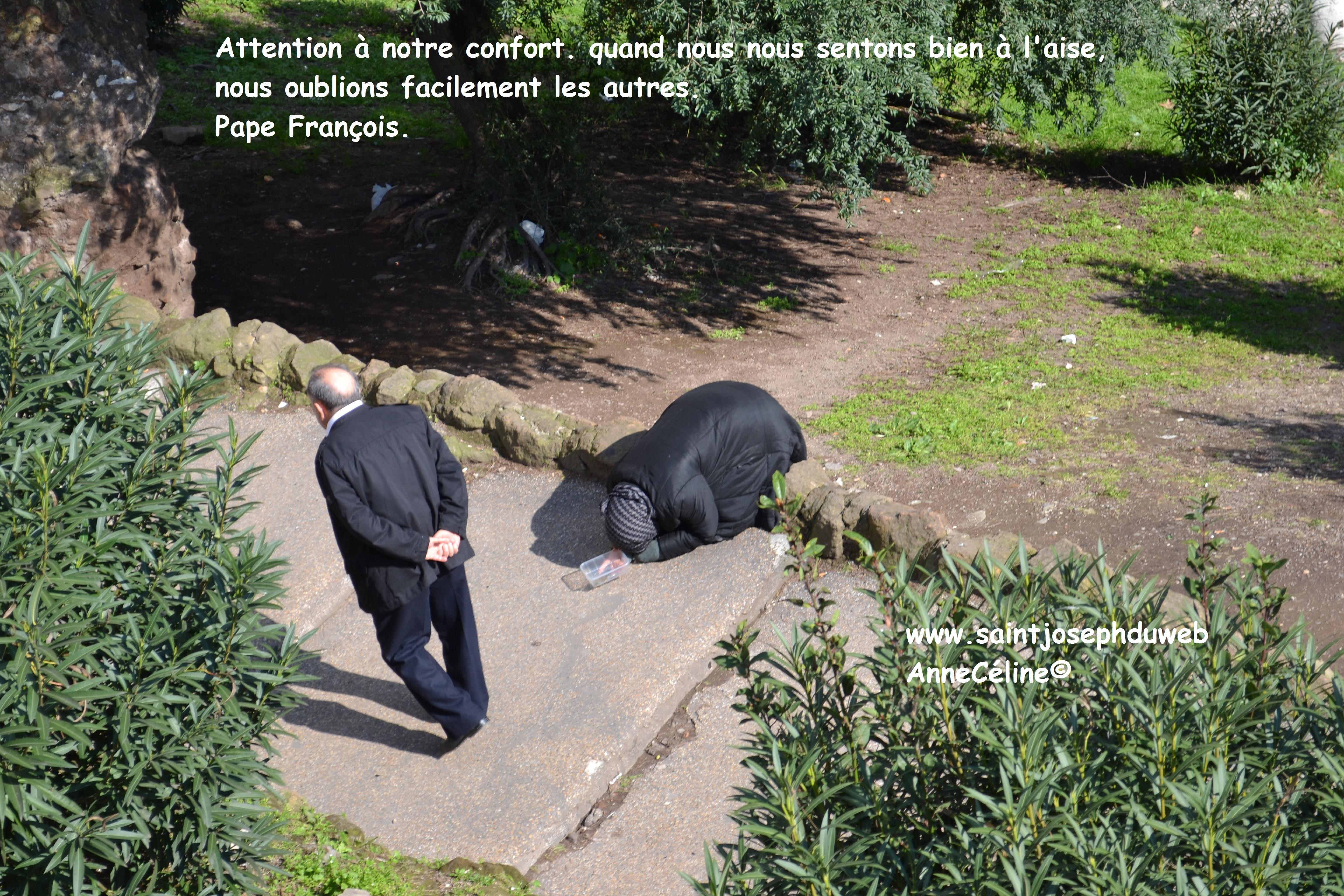 Attention à notre confort....Pape François. Images pour commencer à préparer le carême.